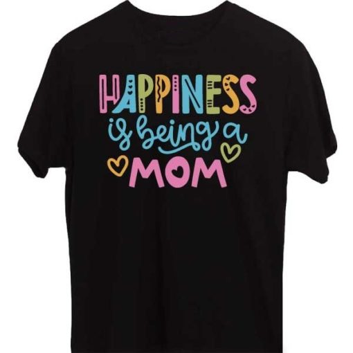 Black-Family-T-Shirt-Happiness-is-being-Mom