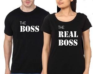 Couple Black T-Shirt Boss Real Boss