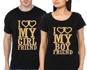 Couple Black T-Shirt - I Love My Boy Friend-HM