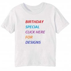 Customize White Round Neck Kid's Birthday T Shirt-pi