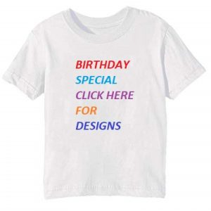 Customize White Round Neck Kids Birthday T Shirt Pi
