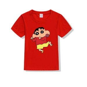 Printe5 Red Dancing Shin Chan Printed Kid's T Shirts