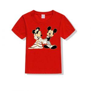 Printe5 Mickey & Minney Printed Kid's T Shirts
