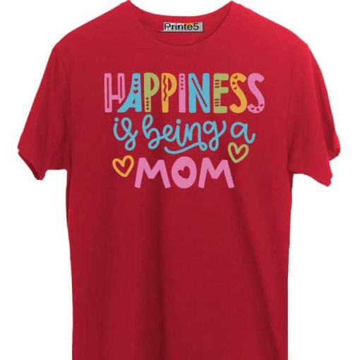 Red-Family-T-Shirt-Happiness-is-being-Mom