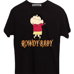 Printe5 Customized Shin Chan Rowdy Baby Black T-Shirt