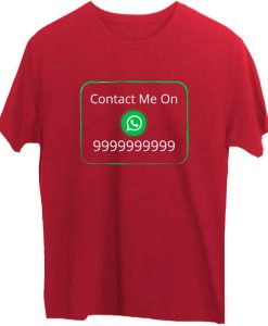 Social Media Whatsapp T-Shirts-D4-Red