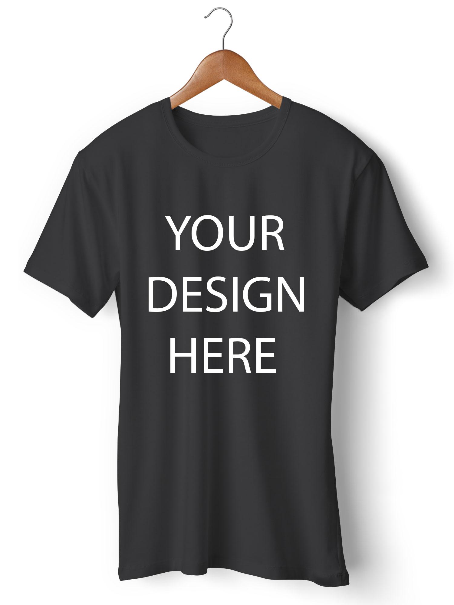 Customized Round Neck Black T-Shirt