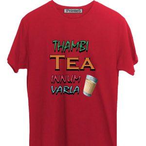Printe5 Thambi Tea Innum Varla Vadivel Quote Red T Shirt