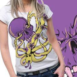 Skull  Oktopus Printed Tshirt Plus 48 Tm1094