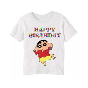 Personalize your White shin chan Kids Birthday T-Shirts