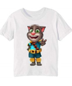 White Talking Tom Jewel Kid's Printed T Shirt