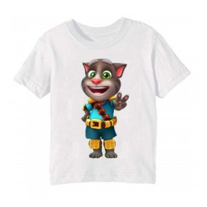 White Talking Tom Jewel Kid's Printed T Shirt
