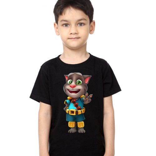 Black Boy Talking Tom Jewel Kid's Printed T Shirt