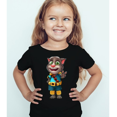 Black Girl Talking Tom Jewel Kid's Printed T Shirt