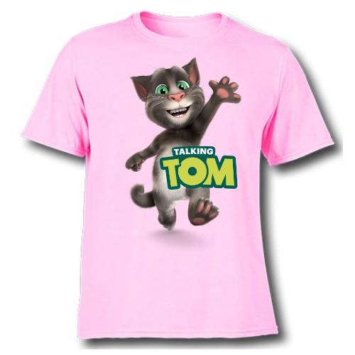Pink Hi Talking Tom Kid's Printed T Shirt