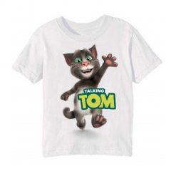 White Hi Talking Tom Kid's Printed T Shirt