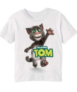 White Hi Talking Tom Kid's Printed T Shirt