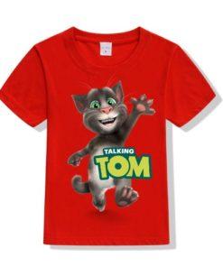 Red Hi Talking Tom Kid's Printed T Shirt