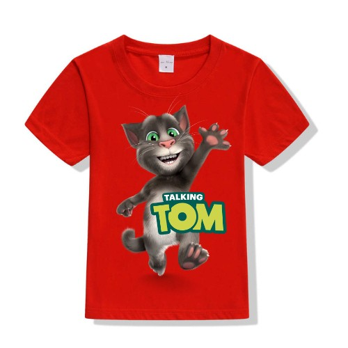 Red Hi Talking Tom Kid's Printed T Shirt