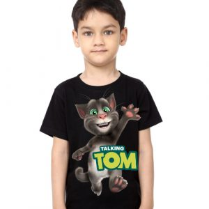 Black Boy Hi Talking Tom Kid's Printed T Shirt