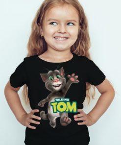 Black Girl Hi Talking Tom Kid's Printed T Shirt