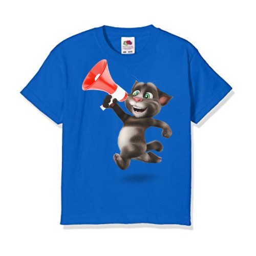 Blue Talking tom with Mic Kid's Printed T Shirt