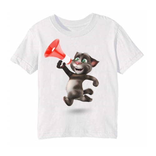 White Talking tom with Mic Kid's Printed T Shirt