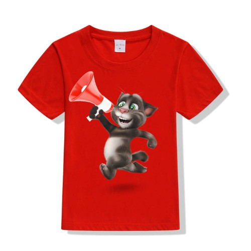 Red Talking tom with Mic Kid's Printed T Shirt