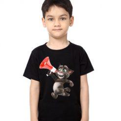 Black Boy Talking tom with Mic Kid's Printed T Shirt
