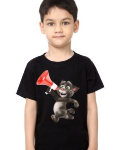 Black Boy Talking tom with Mic Kid's Printed T Shirt
