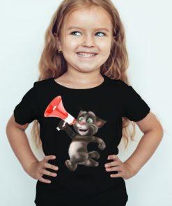 Black Girl Talking tom with Mic Kid's Printed T Shirt