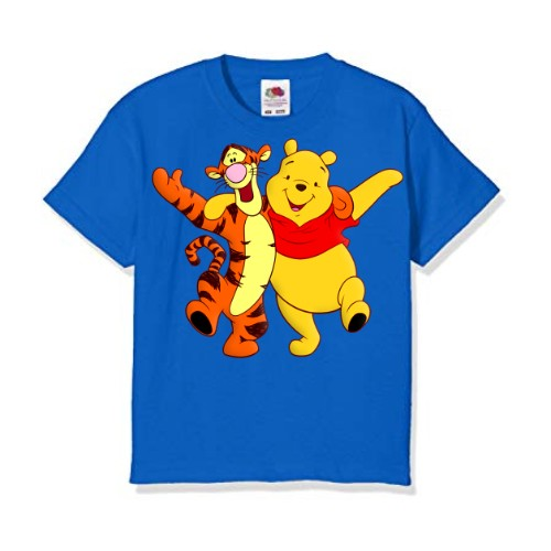 Blue Teddy & Tiger Friends Kid's Printed T Shirt