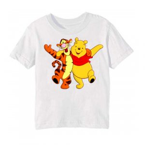 White Teddy & Tiger Friends Kid's Printed T Shirt