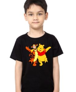 Black Boy Teddy & Tiger Friends Kid's Printed T Shirt