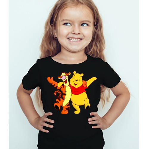 Black Girl Teddy & Tiger Friends Kid's Printed T Shirt