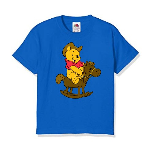 Blue Teddy on Horse Kid's Printed T Shirt