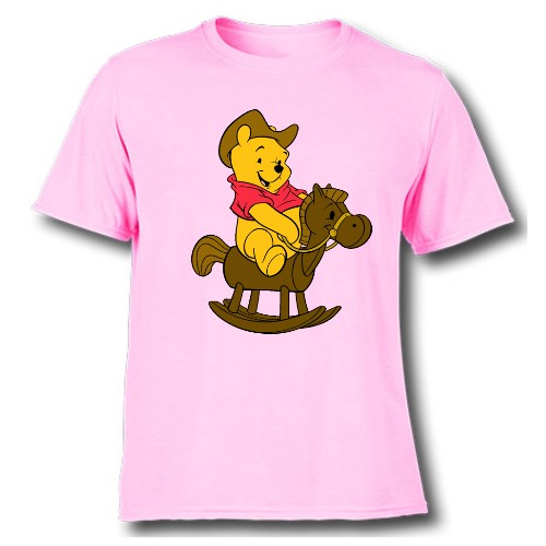 Pink Teddy on Horse Kid's Printed T Shirt