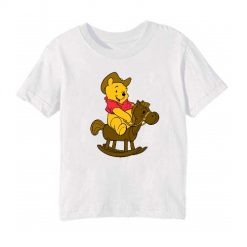 White Teddy on Horse Kid's Printed T Shirt