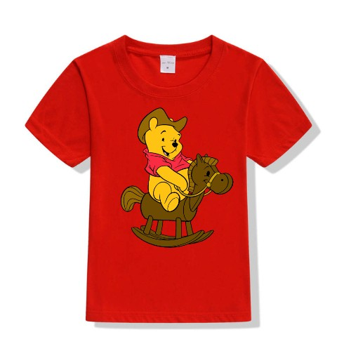 Red Teddy on Horse Kid's Printed T Shirt