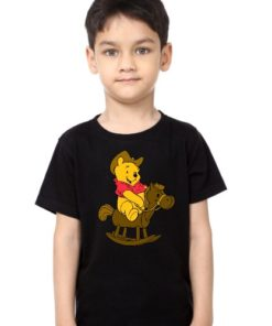 Black Boy Teddy on Horse Kid's Printed T Shirt