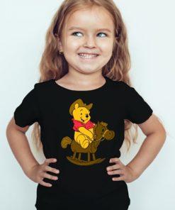Black Girl Teddy on Horse Kid's Printed T Shirt