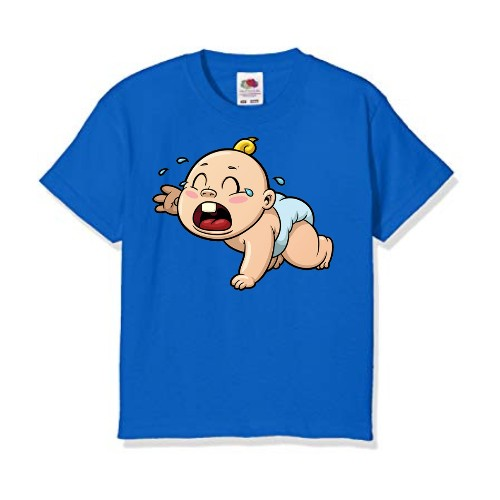 Blue Crying Baby Kid's Printed T Shirt