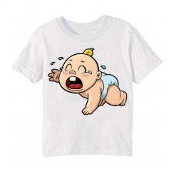 White Crying Baby Kid's Printed T Shirt