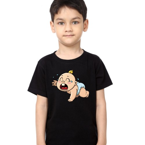 Black Boy Crying Baby Kid's Printed T Shirt