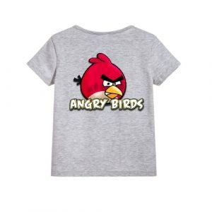 Grey Pink Angry Bird Kid's Printed T Shirt
