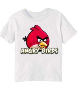 White Pink Angry Bird Kid's Printed T Shirt