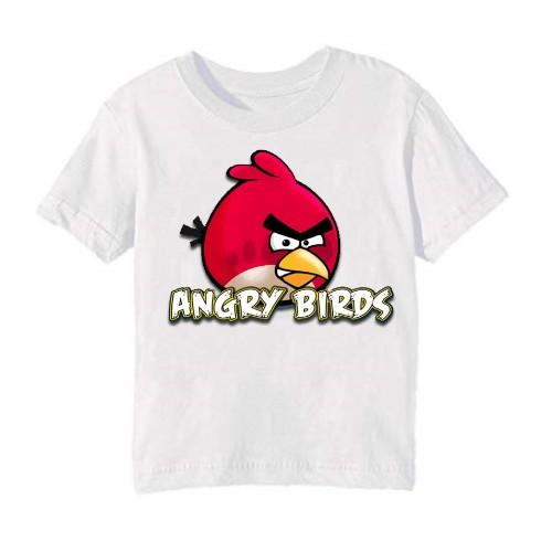 White Pink Angry Bird Kid's Printed T Shirt