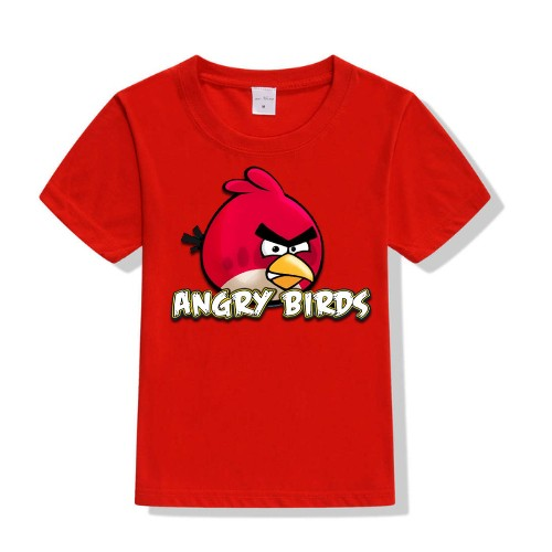 Red Pink Angry Bird Kid's Printed T Shirt