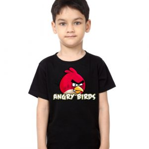 Black Boy Pink Angry Bird Kid's Printed T Shirt