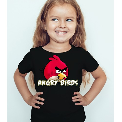 Black Girl Pink Angry Bird Kid's Printed T Shirt